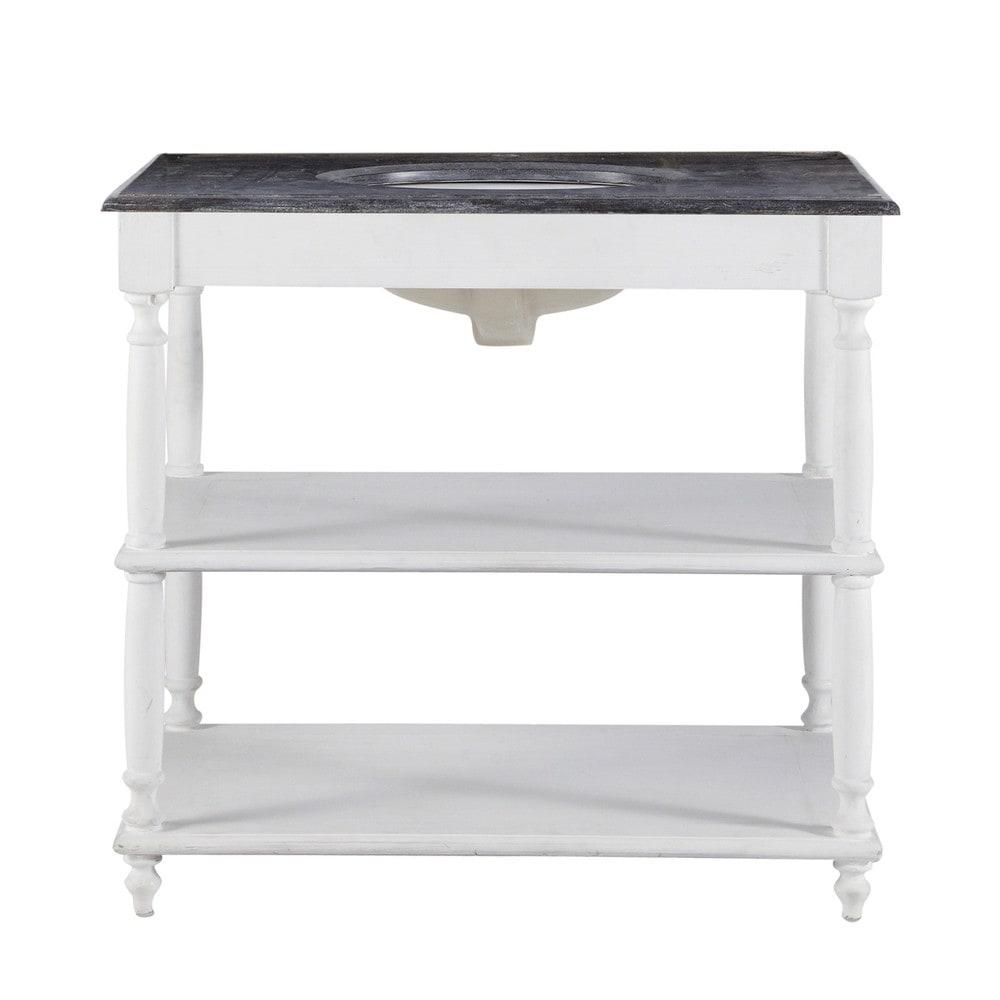 Meuble vasque en bois massif et pierre blanc ostende for Meuble bois et blanc