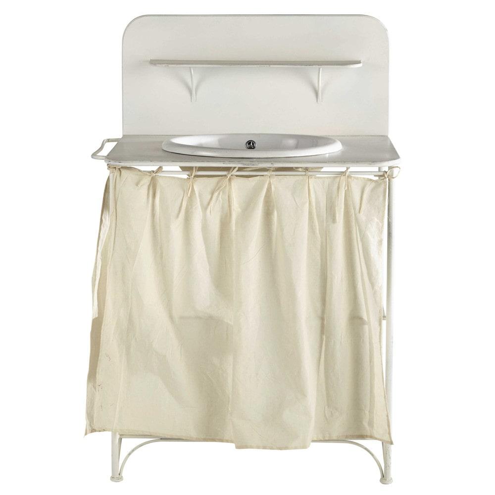 meuble vasque en m tal blanc l 81 cm romance maisons du monde. Black Bedroom Furniture Sets. Home Design Ideas