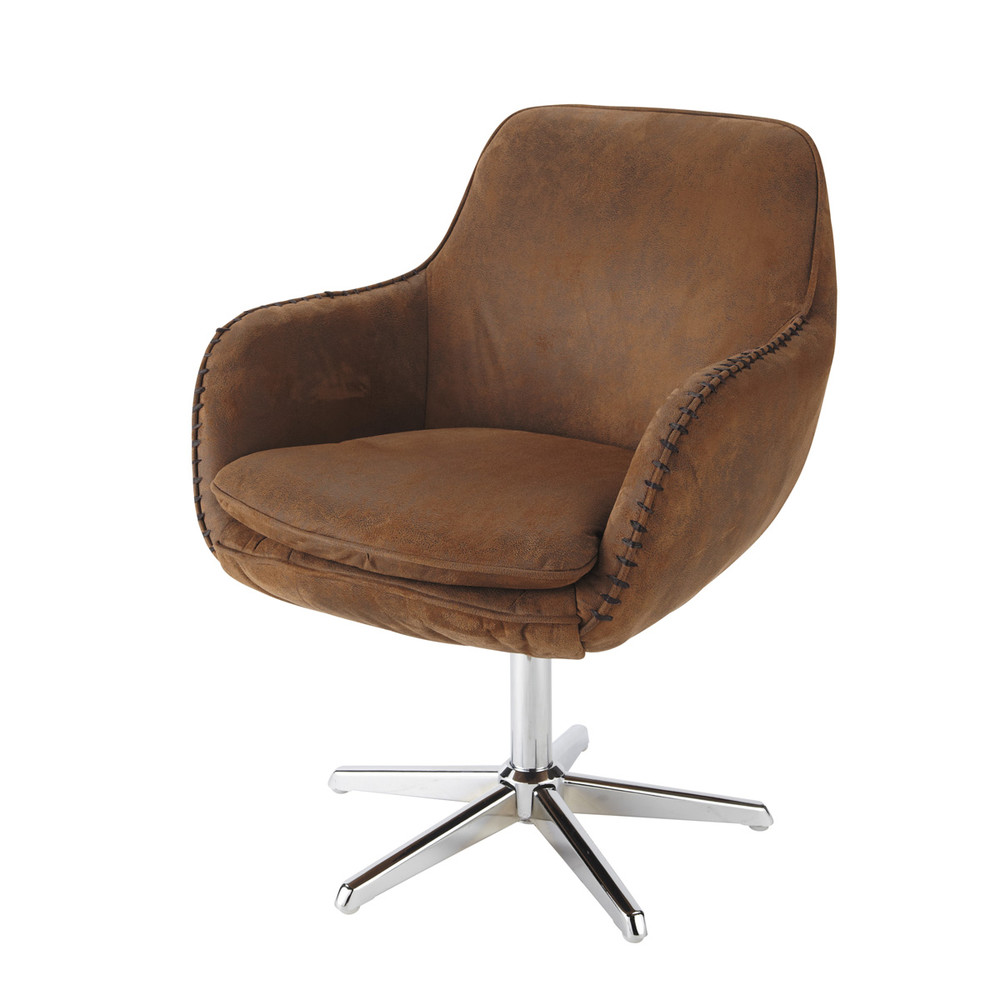 microsuede office chair in brown andrews maisons du monde. Black Bedroom Furniture Sets. Home Design Ideas