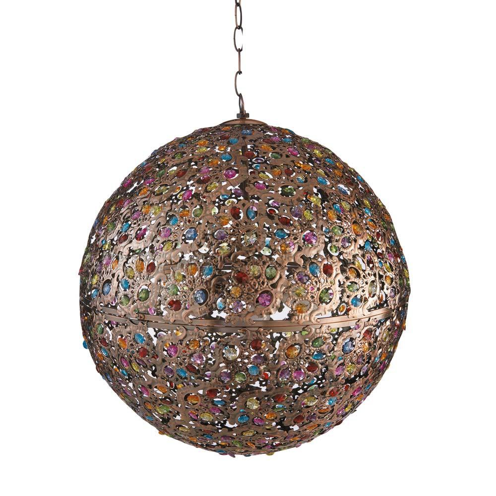 mille et une nuits metal and glass pendant lamp multicoloured d 50cm maisons du monde. Black Bedroom Furniture Sets. Home Design Ideas