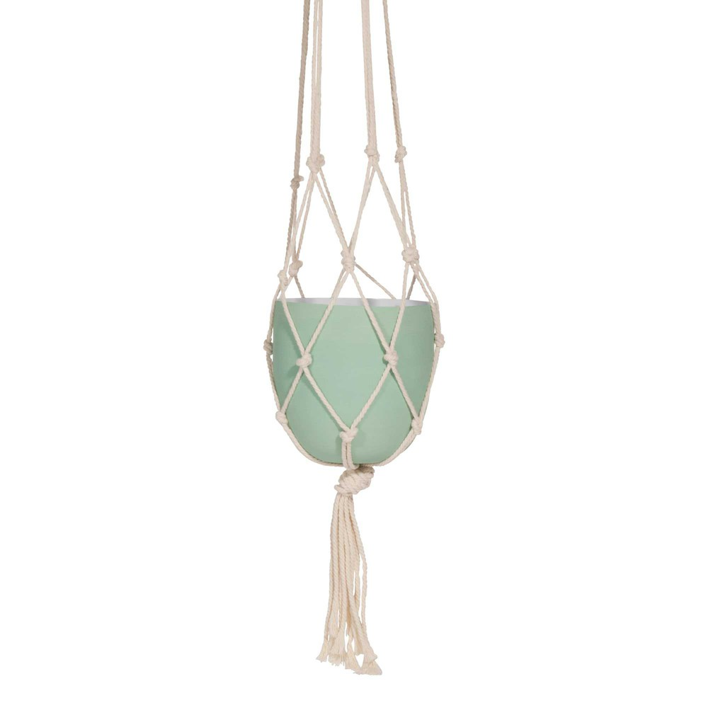 Mint Green Metal Hanging Planter Maisons Du Monde