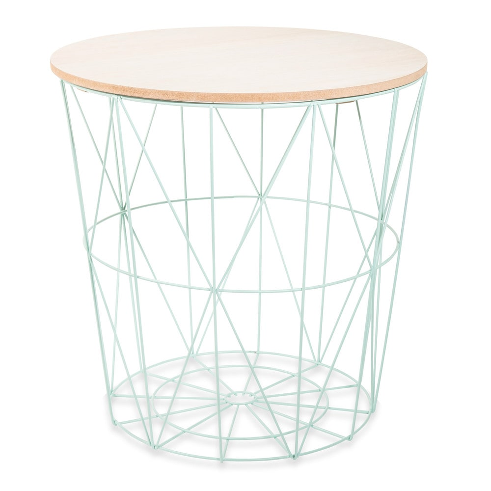 mint metal side table in green maisons du monde. Black Bedroom Furniture Sets. Home Design Ideas