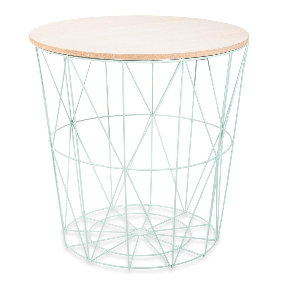 mint metal side table in green maisons du monde. Black Bedroom Furniture Sets. Home Design Ideas