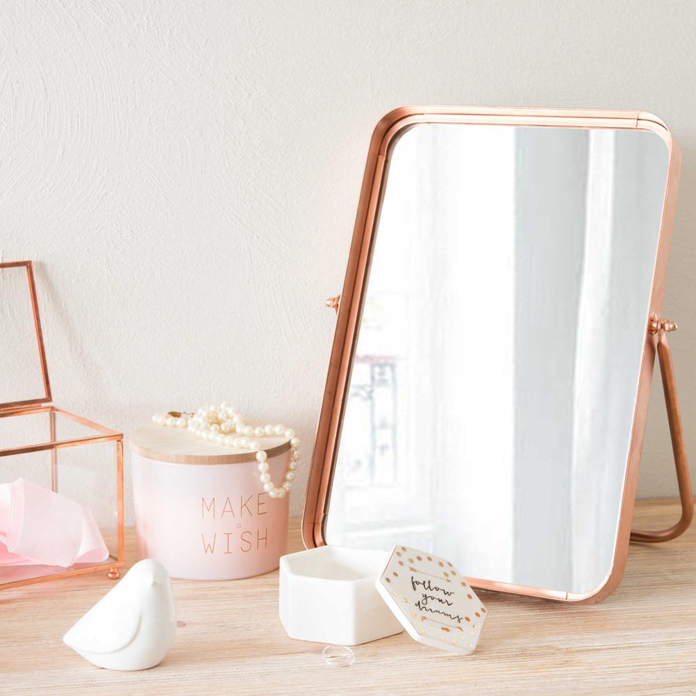 miroir poser en m tal h 33 cm lou copper maisons du monde. Black Bedroom Furniture Sets. Home Design Ideas