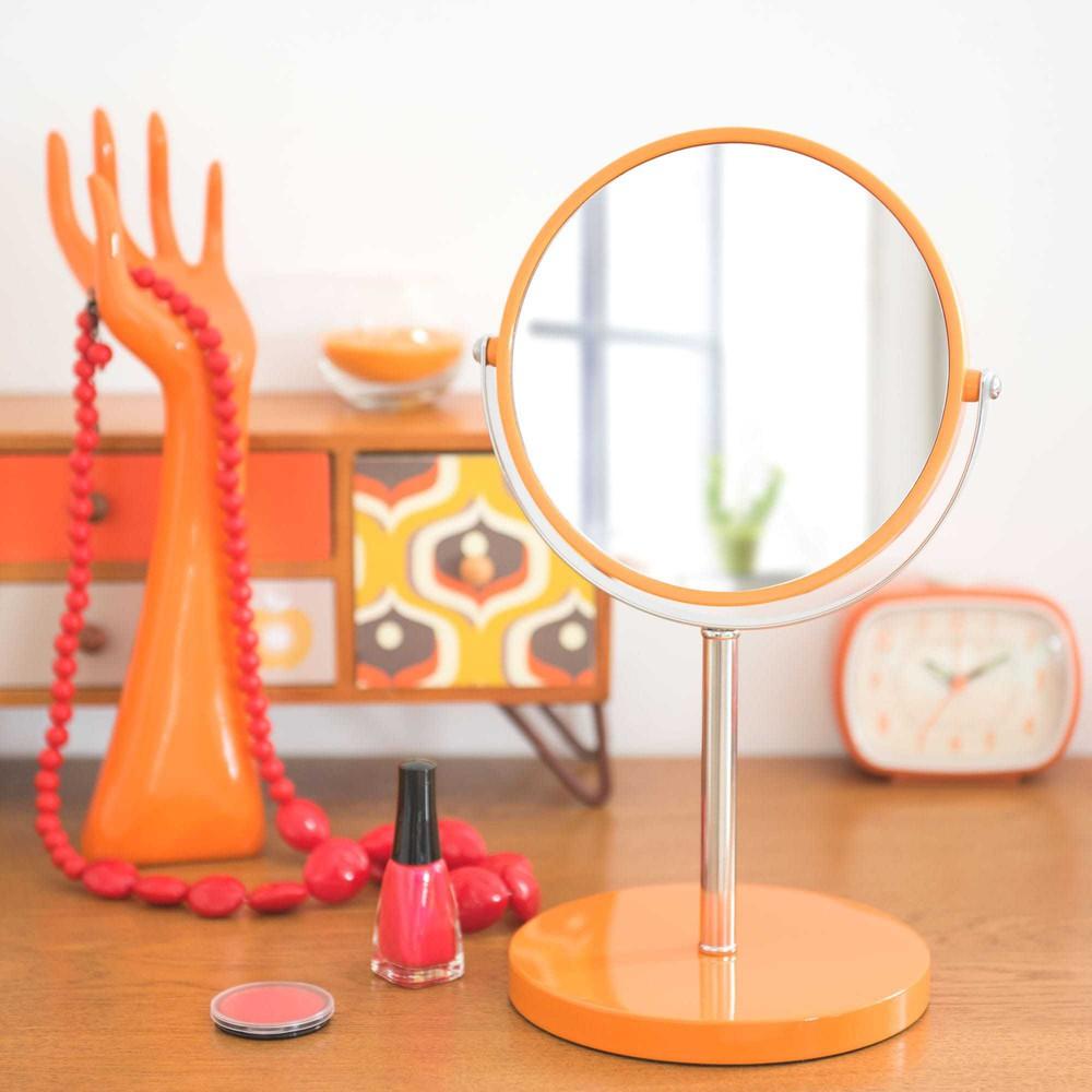 miroir poser en m tal orange h 33 cm pop maisons du monde. Black Bedroom Furniture Sets. Home Design Ideas