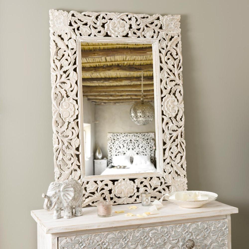 Miroir adhika blanchi maisons du monde - Miroir verriere maison du monde ...