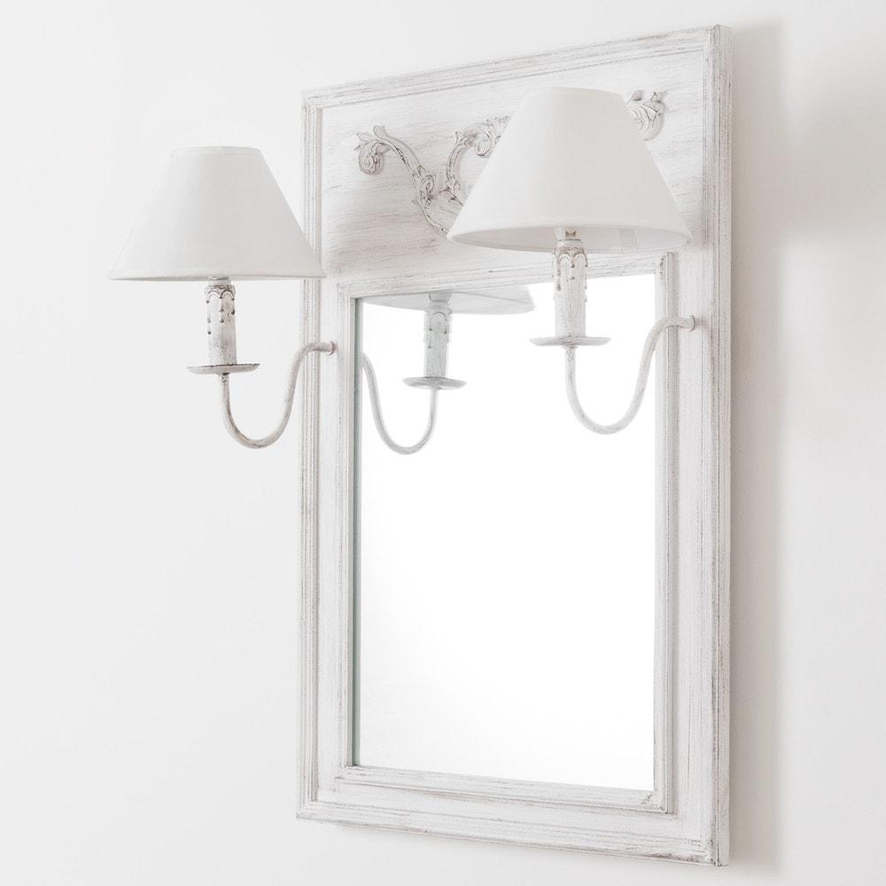 Miroir applique double en bois et toile effet vieilli h 70 - Maison du monde espejos ...