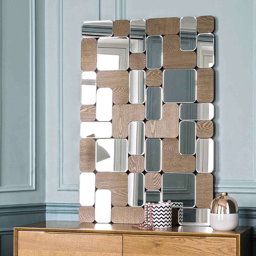 Miroir avec bois h 120 cm oklahoma maisons du monde for Miroirs rectangulaires bois