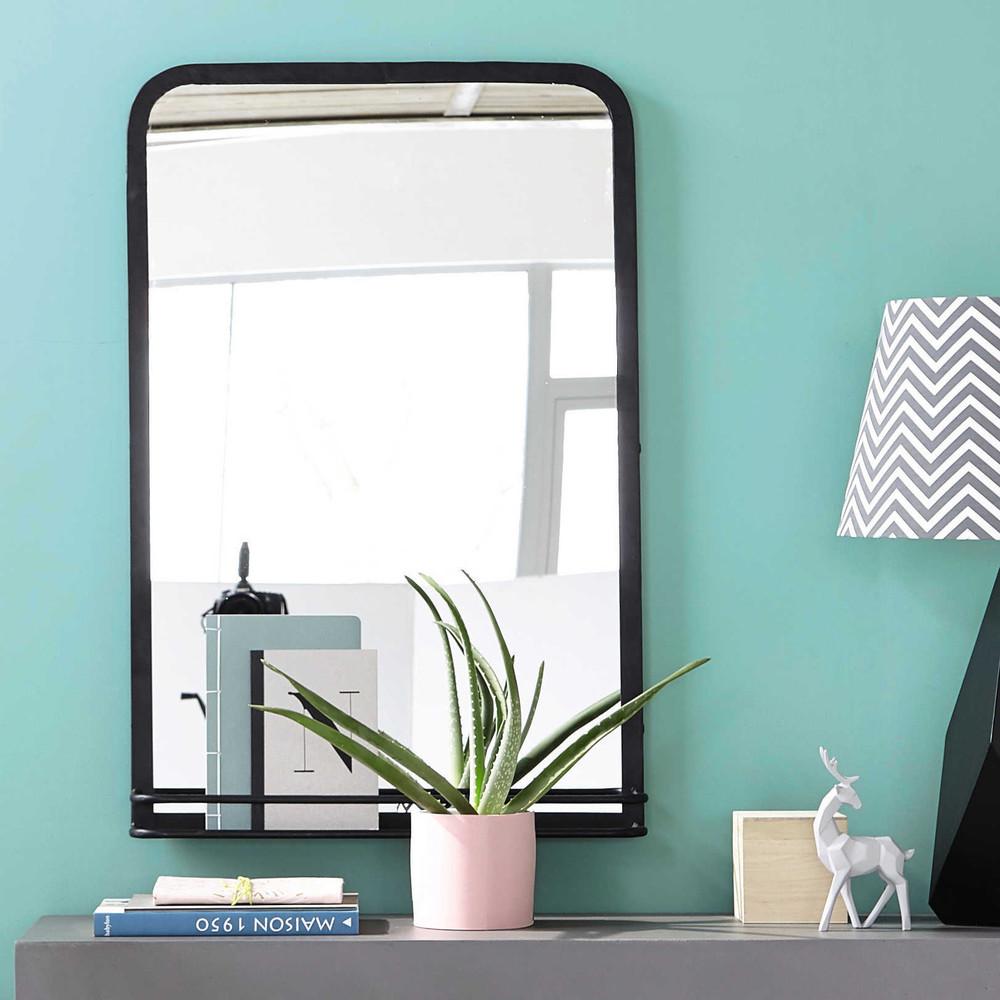 miroir avec tag re en m tal noir h 91 cm oakland. Black Bedroom Furniture Sets. Home Design Ideas