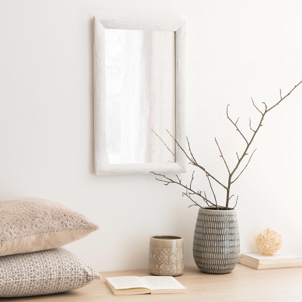 Miroir blanc 35x55 maisons du monde for Miroir blanc maison du monde