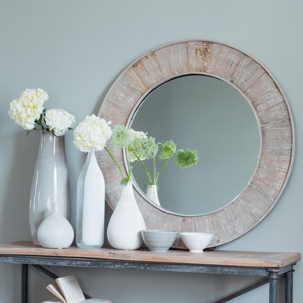 Miroir bois naturel marcellin maisons du monde for Miroir deco bois