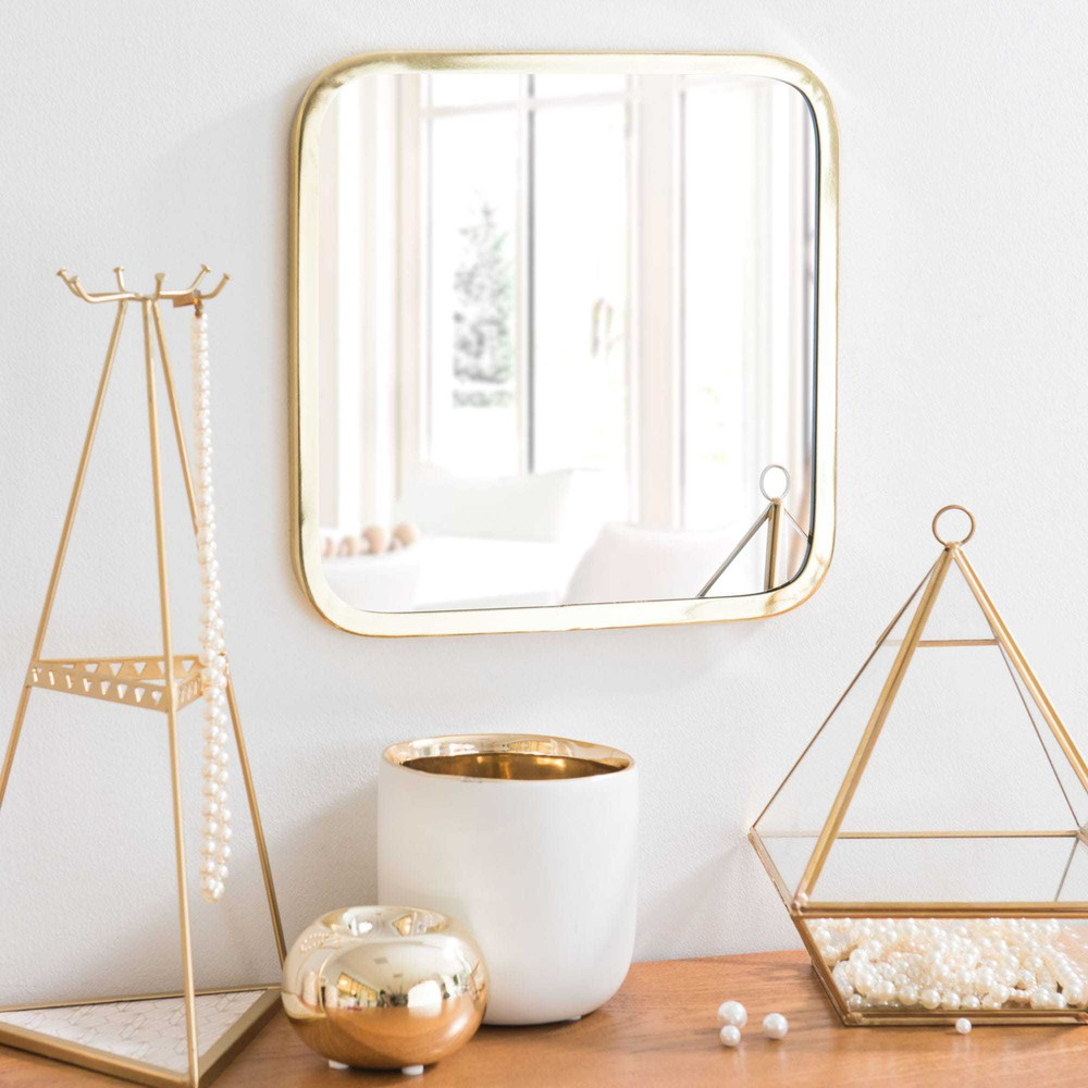 miroir carr en m tal dor h 25 cm ariana maisons du monde. Black Bedroom Furniture Sets. Home Design Ideas