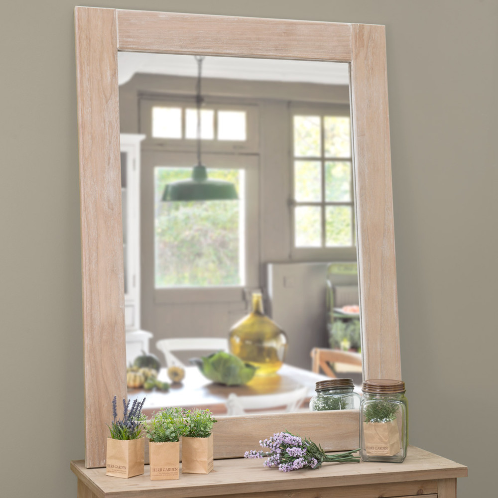 miroir c rus en bois de paulownia h 120 cm natura maisons du monde. Black Bedroom Furniture Sets. Home Design Ideas