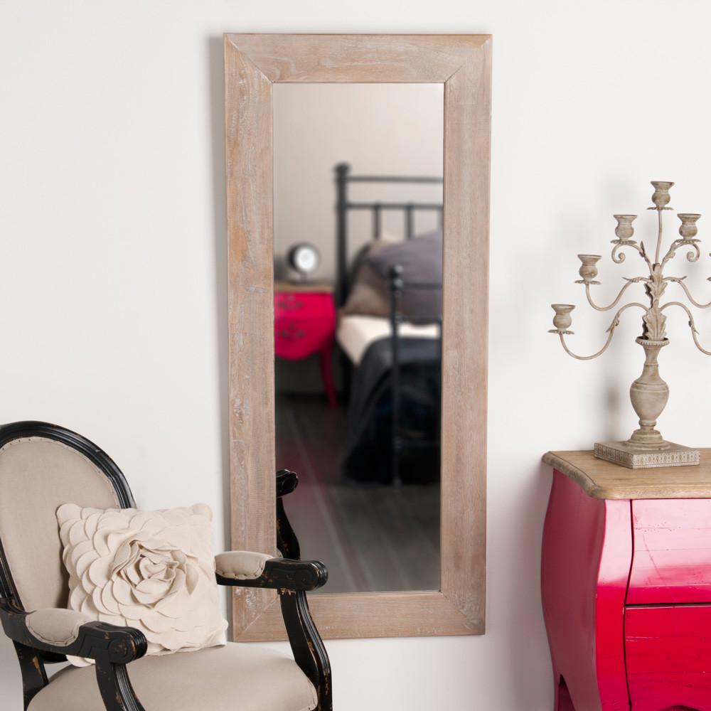 Miroir c rus en bois de paulownia h 130 cm natura for Miroir 70x90