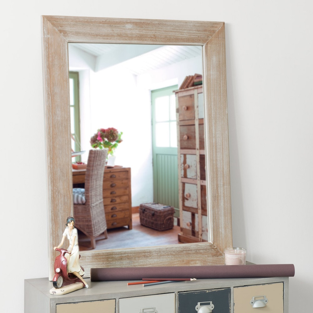 Miroir c rus en paulownia h 90 cm natura maisons du monde for Miroir 90x120