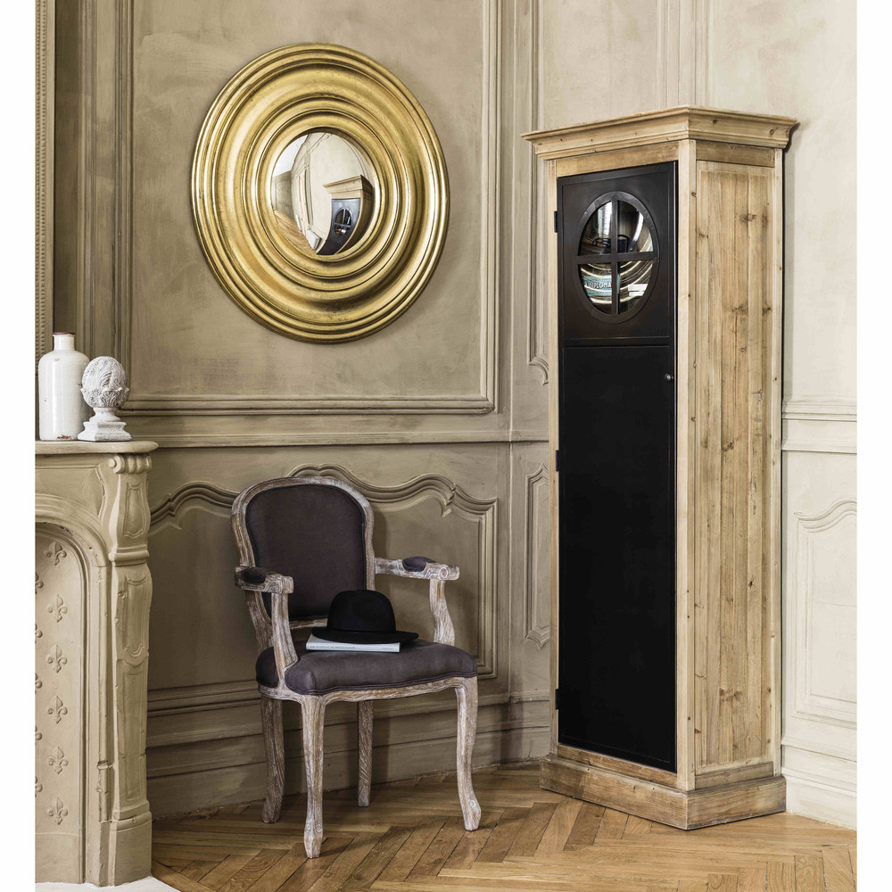 miroir convexe en bois dor d 90 cm od on maisons du monde. Black Bedroom Furniture Sets. Home Design Ideas