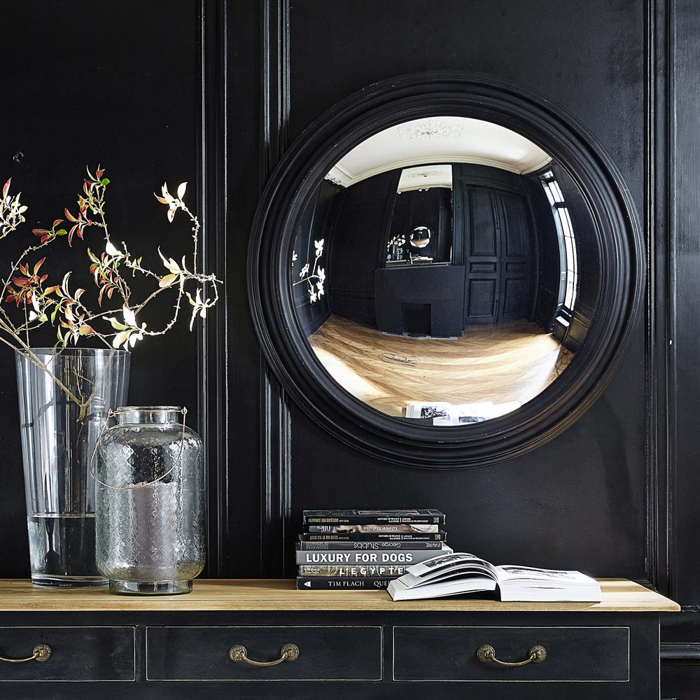 miroir convexe en bois noir d 90 cm vendome maisons du monde. Black Bedroom Furniture Sets. Home Design Ideas