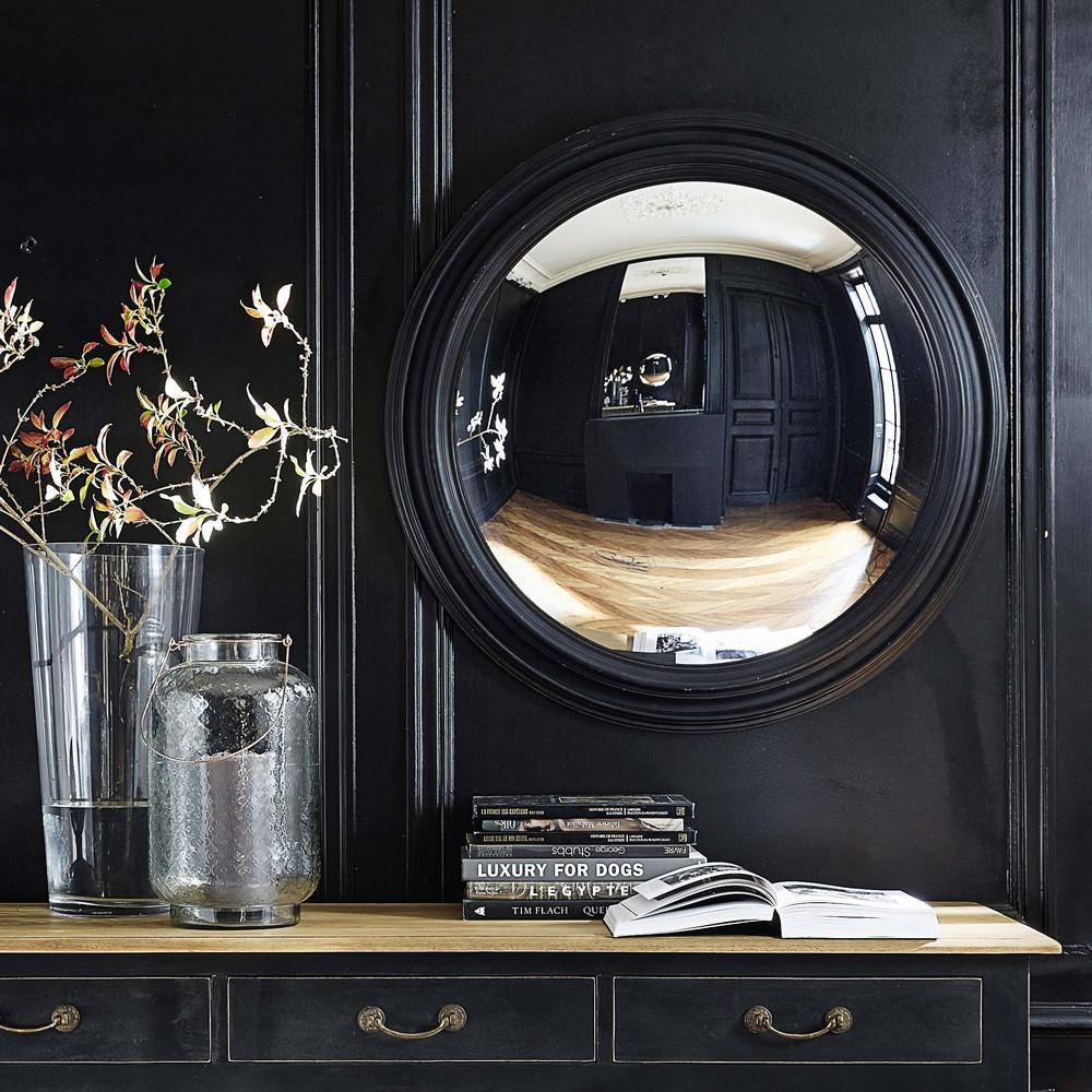 Miroir convexe en bois noir d 90 cm vendome maisons du monde for Miroir 90 x 90