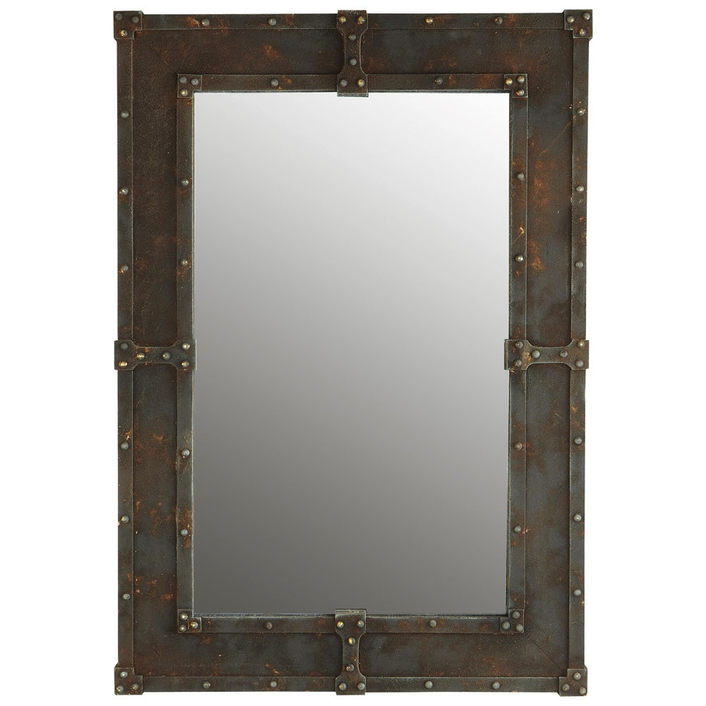 Miroir effet m tal h 90 cm expo maisons du monde for Miroirs rectangulaires
