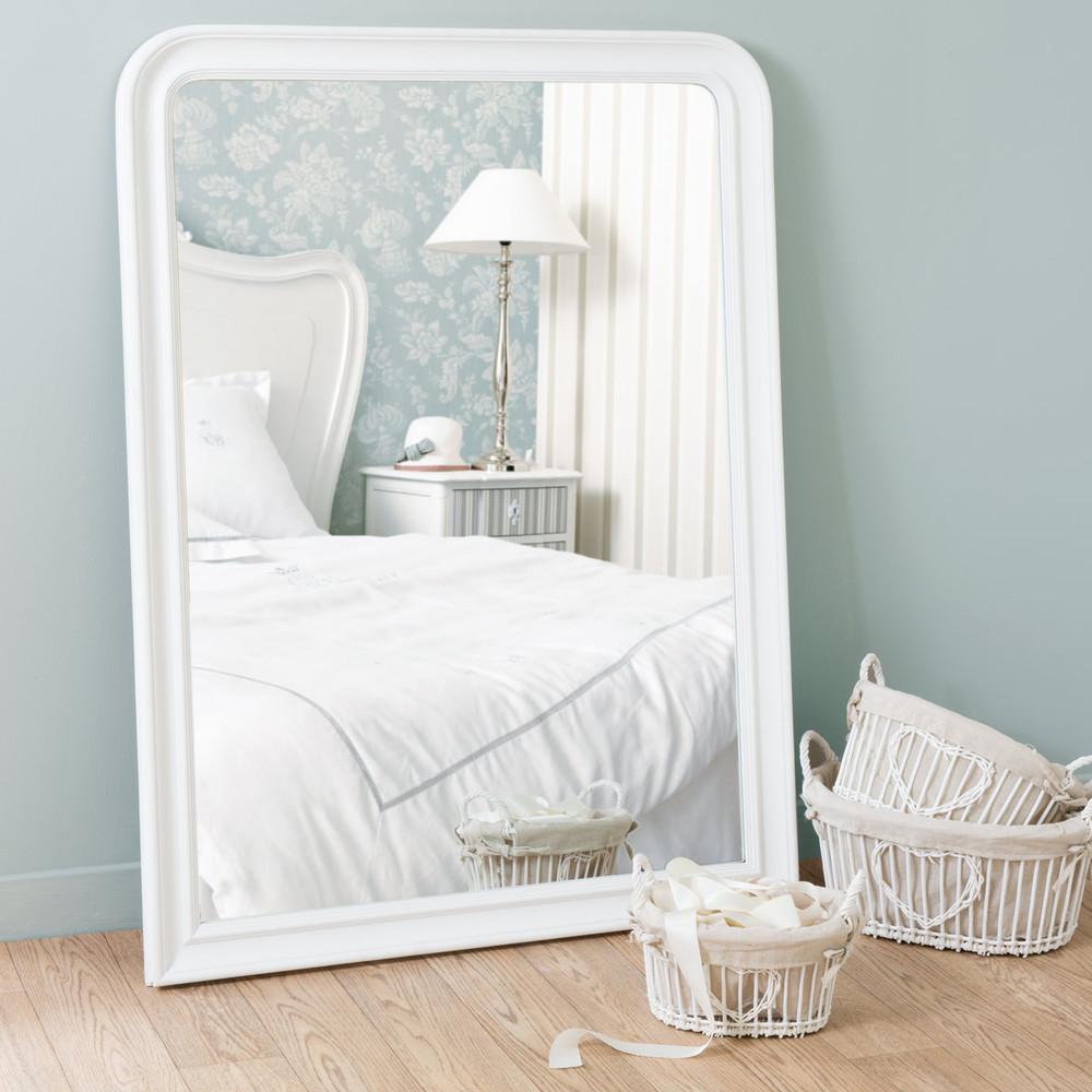 Miroir elianne arrondi blanc 120x90 maisons du monde for Miroir arrondi