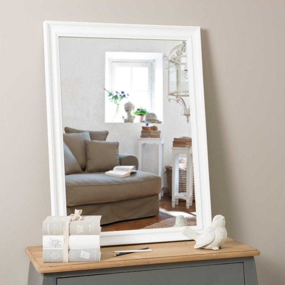 Miroir elianne blanc 95x70 maisons du monde for Miroir quadrilobe blanc
