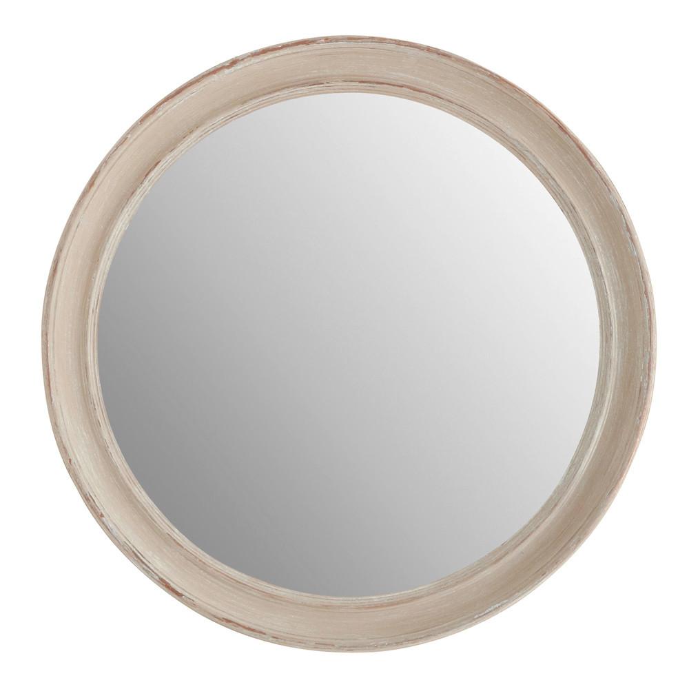 Miroir elianne rond beige maisons du monde for Miroir rond gris