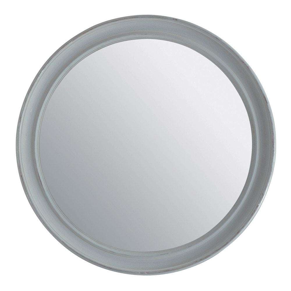 Miroir elianne rond gris maisons du monde for Miroir rond gris