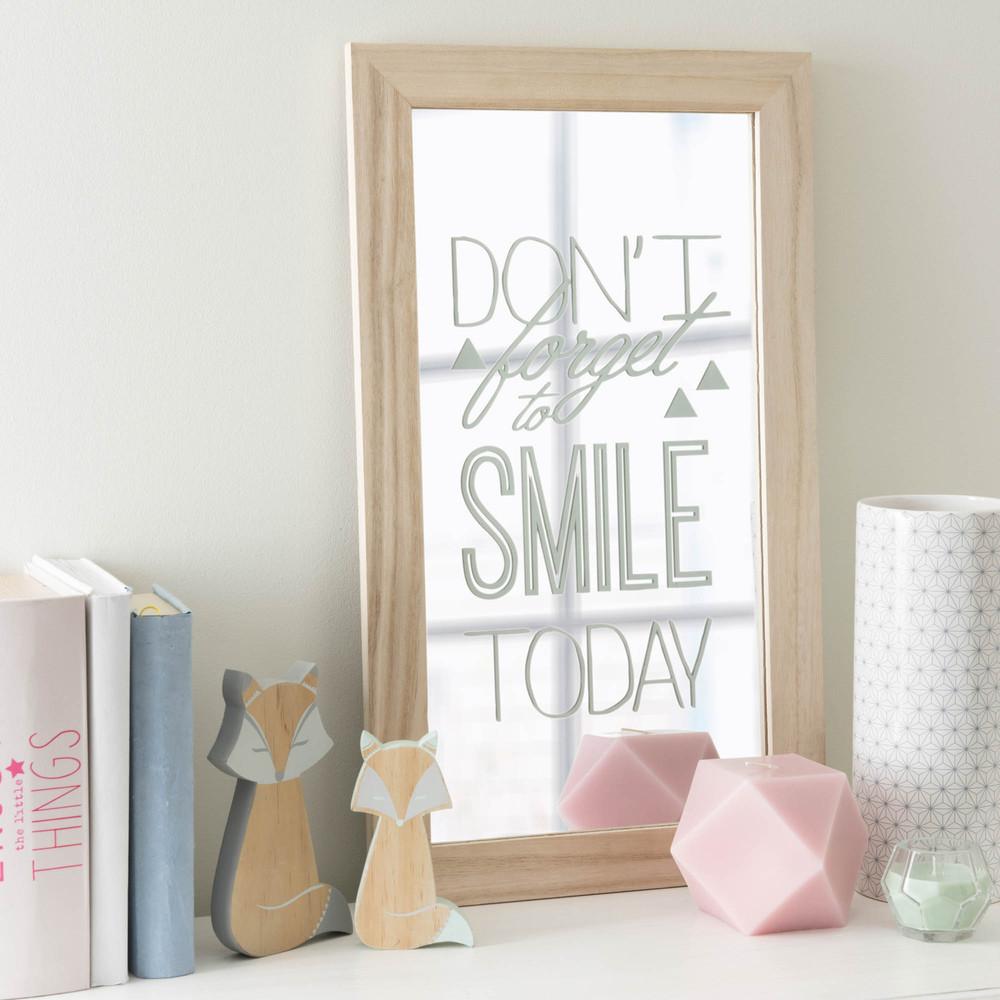 Miroir en bois 31 x 53 cm don 39 t forget to smile maisons - Maison du monde miroir ...