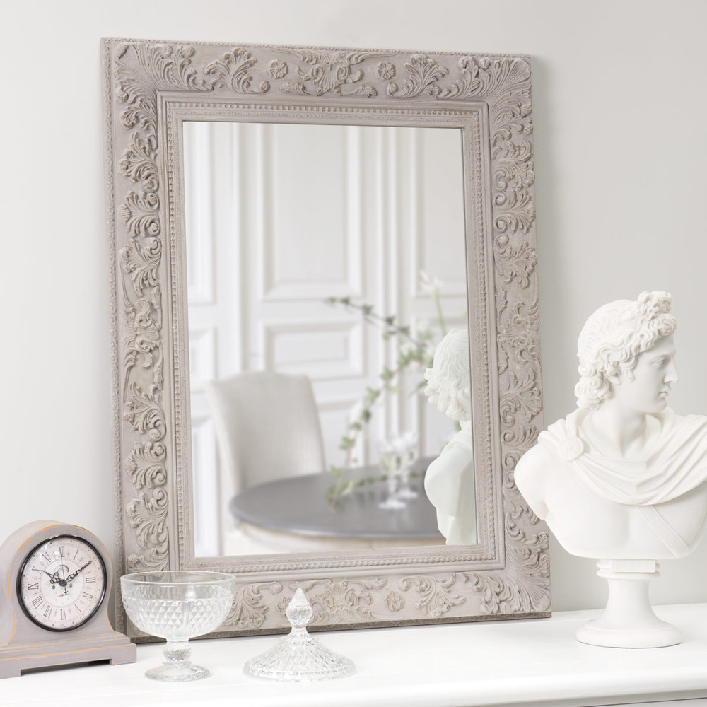 Miroir en bois beige h 90 cm ali nor maisons du monde for Miroirs rectangulaires bois