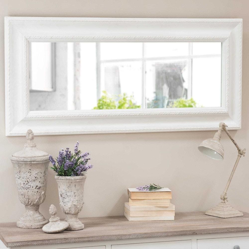 Miroir en bois blanc h 130 cm l onore maisons du monde for Miroir bois blanc