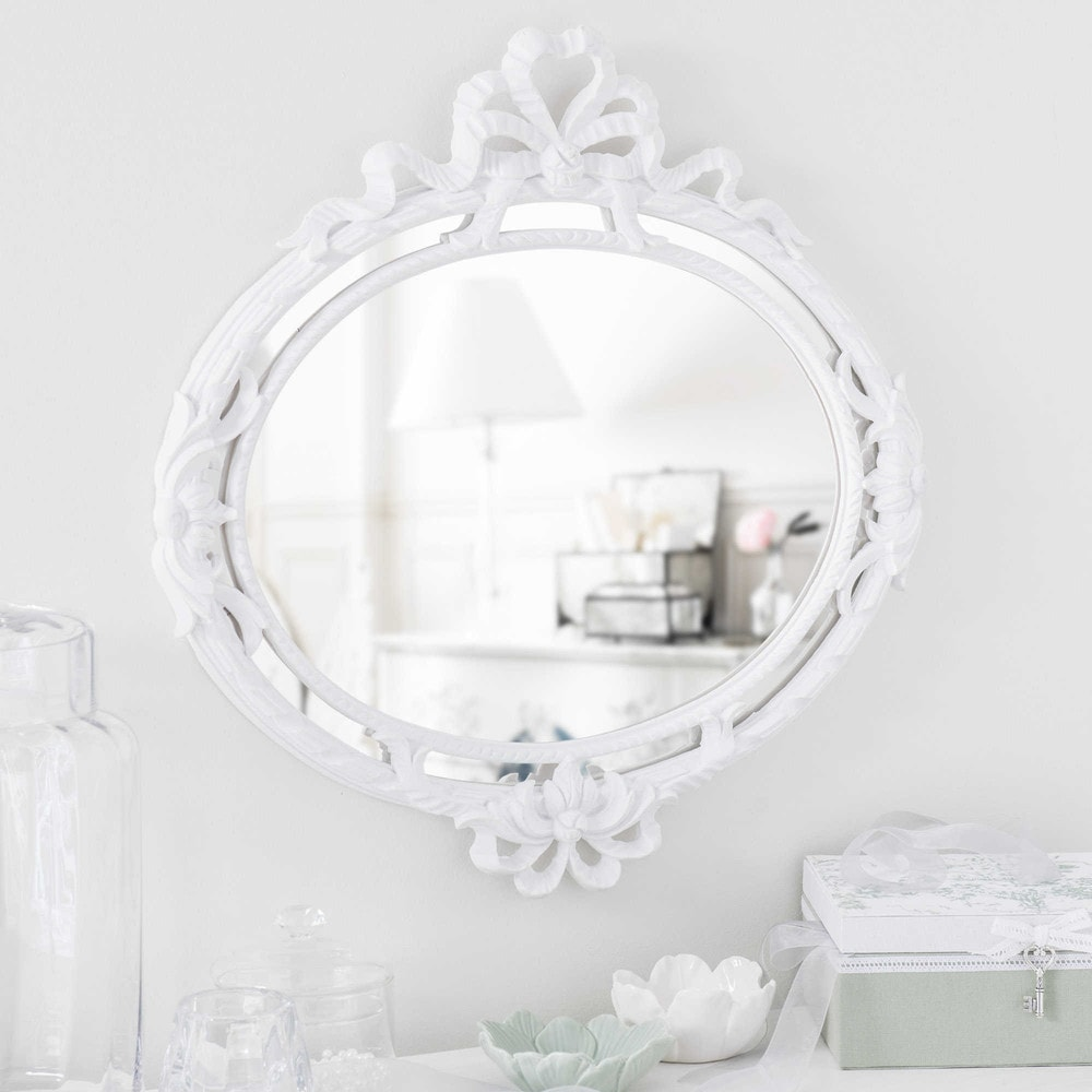 Miroir en bois blanc h 52 cm serraglio maisons du monde for Miroir blanc maison du monde