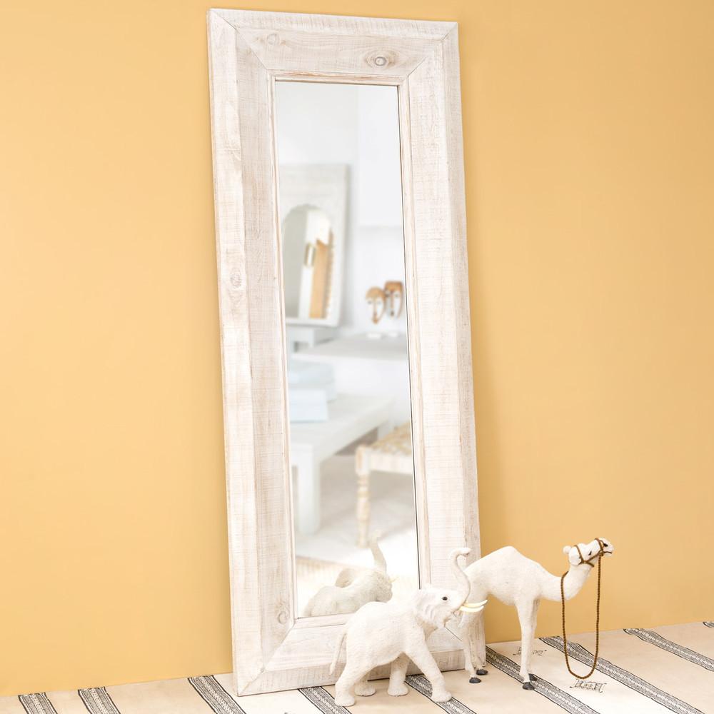 Miroir en bois blanchi h 200 cm sahaba maisons du monde for Miroir hauteur 200