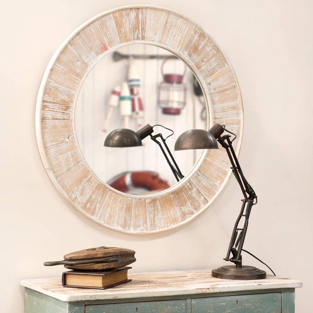 miroir en bois blanchi h 90 cm marcellin maisons du monde. Black Bedroom Furniture Sets. Home Design Ideas