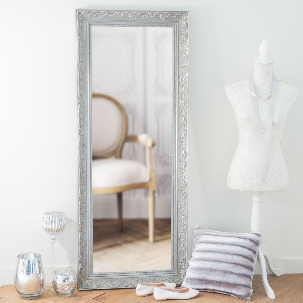 miroir en bois de paulownia argent h 145 cm valentine maisons du monde. Black Bedroom Furniture Sets. Home Design Ideas