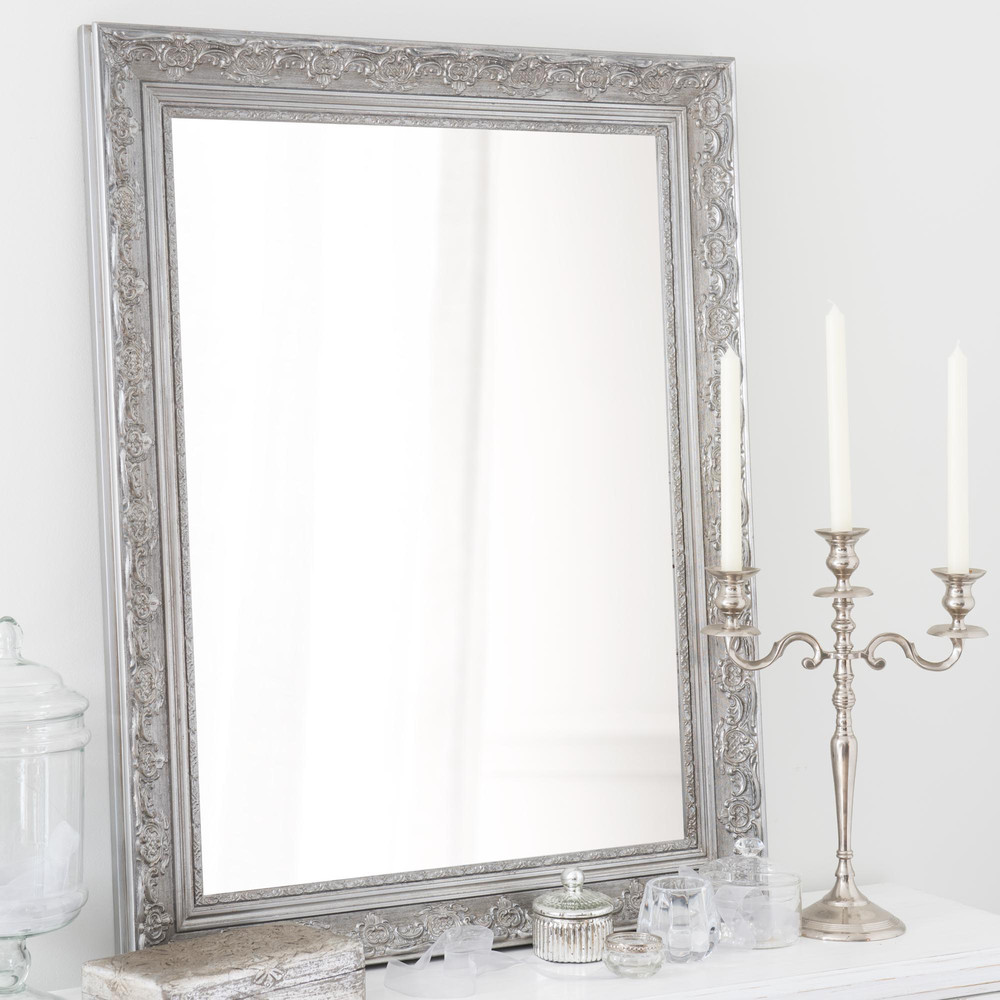 Miroir en bois de paulownia argent h 90 cm valentine for Maison du monde miroir