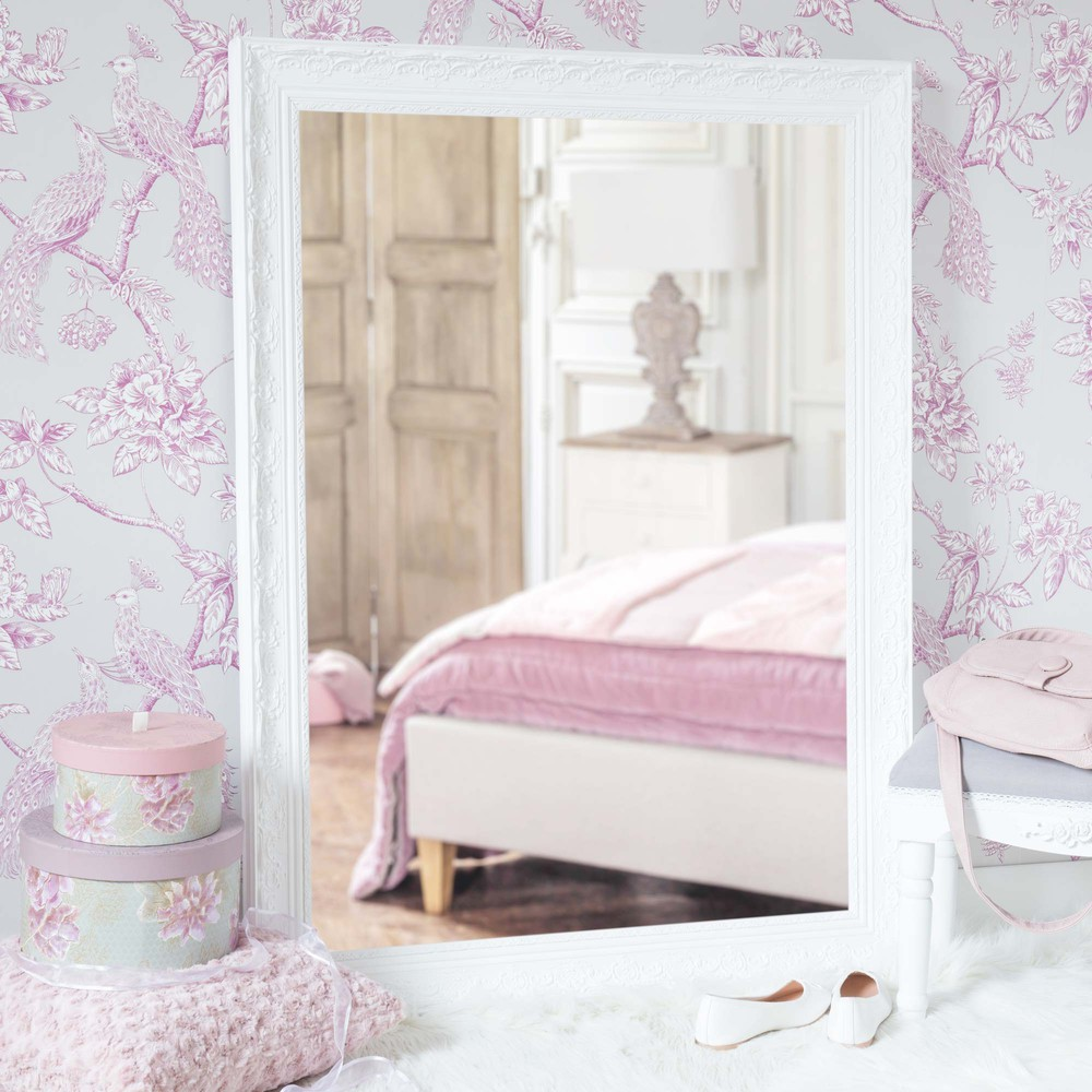 Miroir en bois de paulownia blanc h 120 cm valentine for Miroir blanc bois