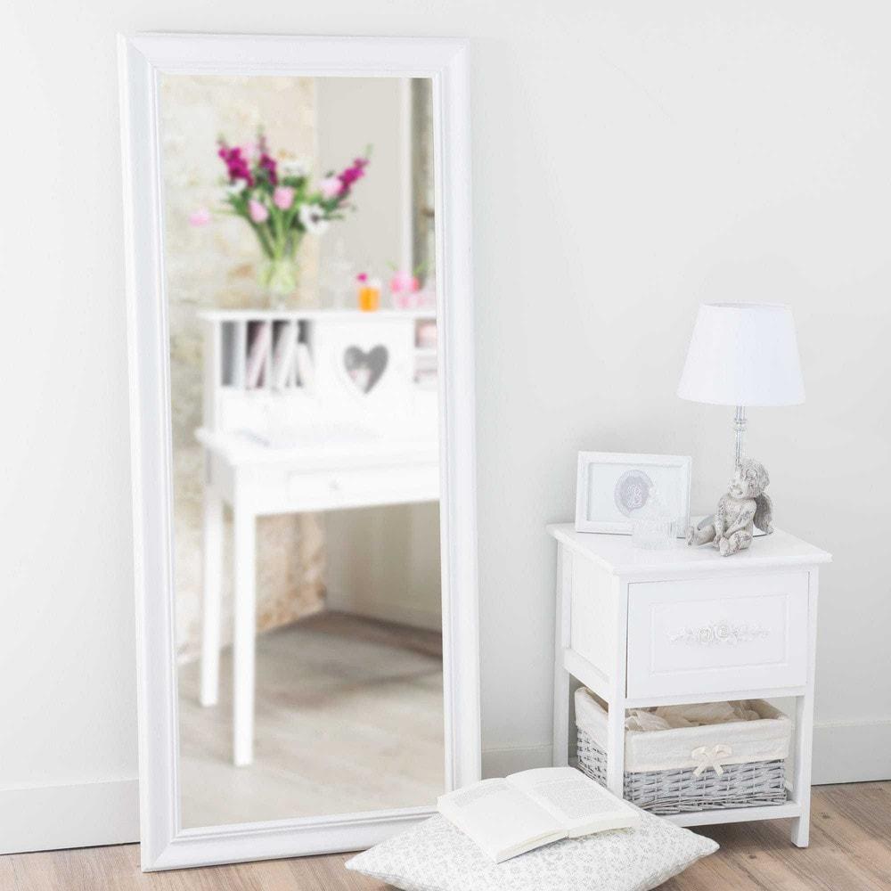 miroir en bois de paulownia blanc h 125 cm emeline maisons du monde. Black Bedroom Furniture Sets. Home Design Ideas