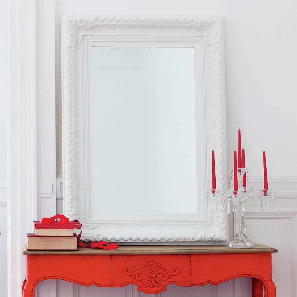 Miroir en bois de paulownia blanc h 125 cm marquise for Miroirs rectangulaires bois