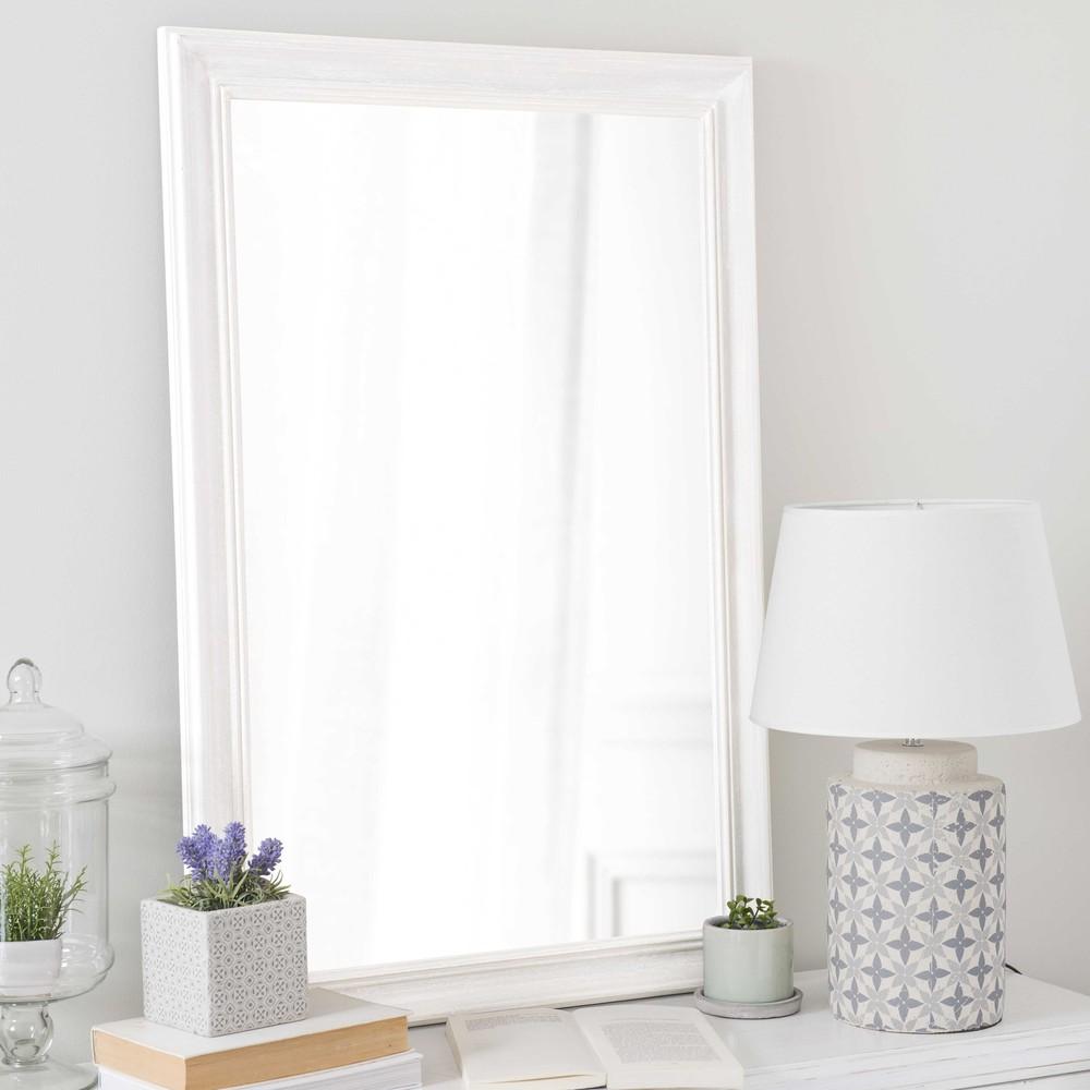 Miroir en bois de paulownia blanc h 90 cm emeline for Miroir seducta 90 cm