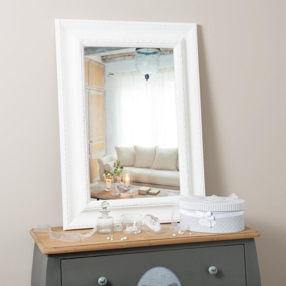 Miroir en bois de paulownia blanc h 90 cm l onore for Miroirs rectangulaires bois