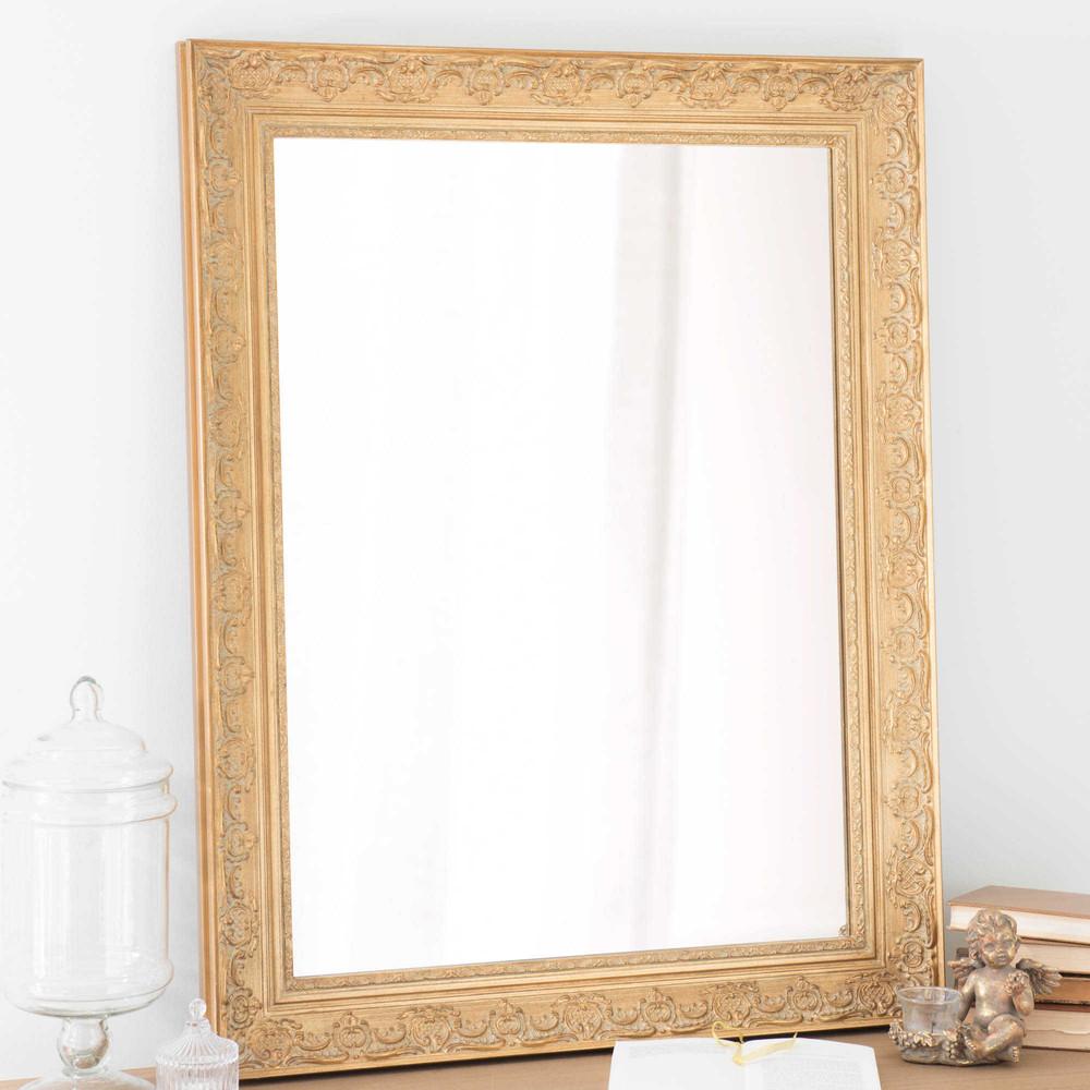 Miroir en bois de paulownia dor h 90 cm valentine for Miroirs rectangulaires