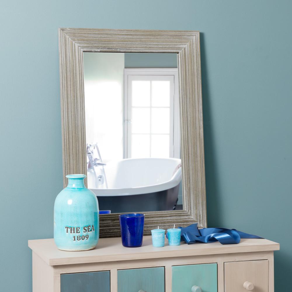 Miroir bois clair for Miroirs rectangulaires