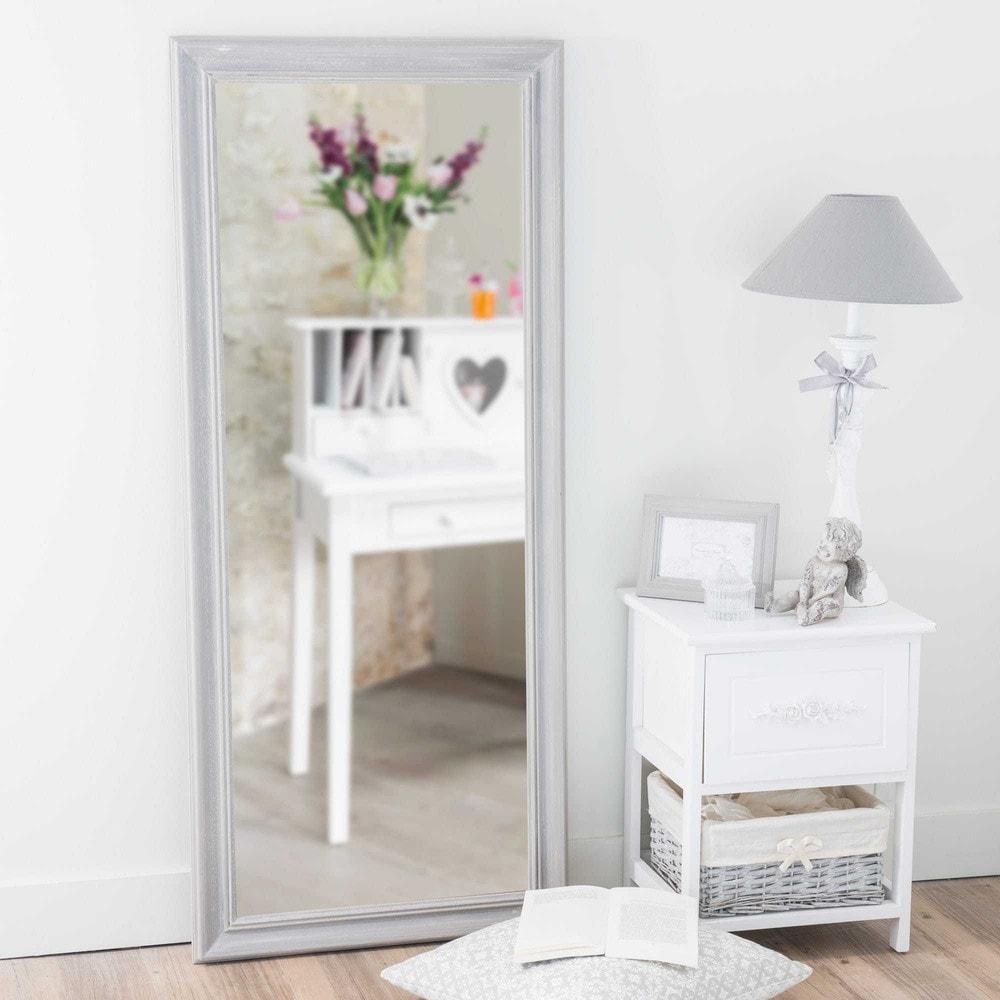 Miroir en bois de paulownia gris h 125 cm emeline for Miroir bois gris