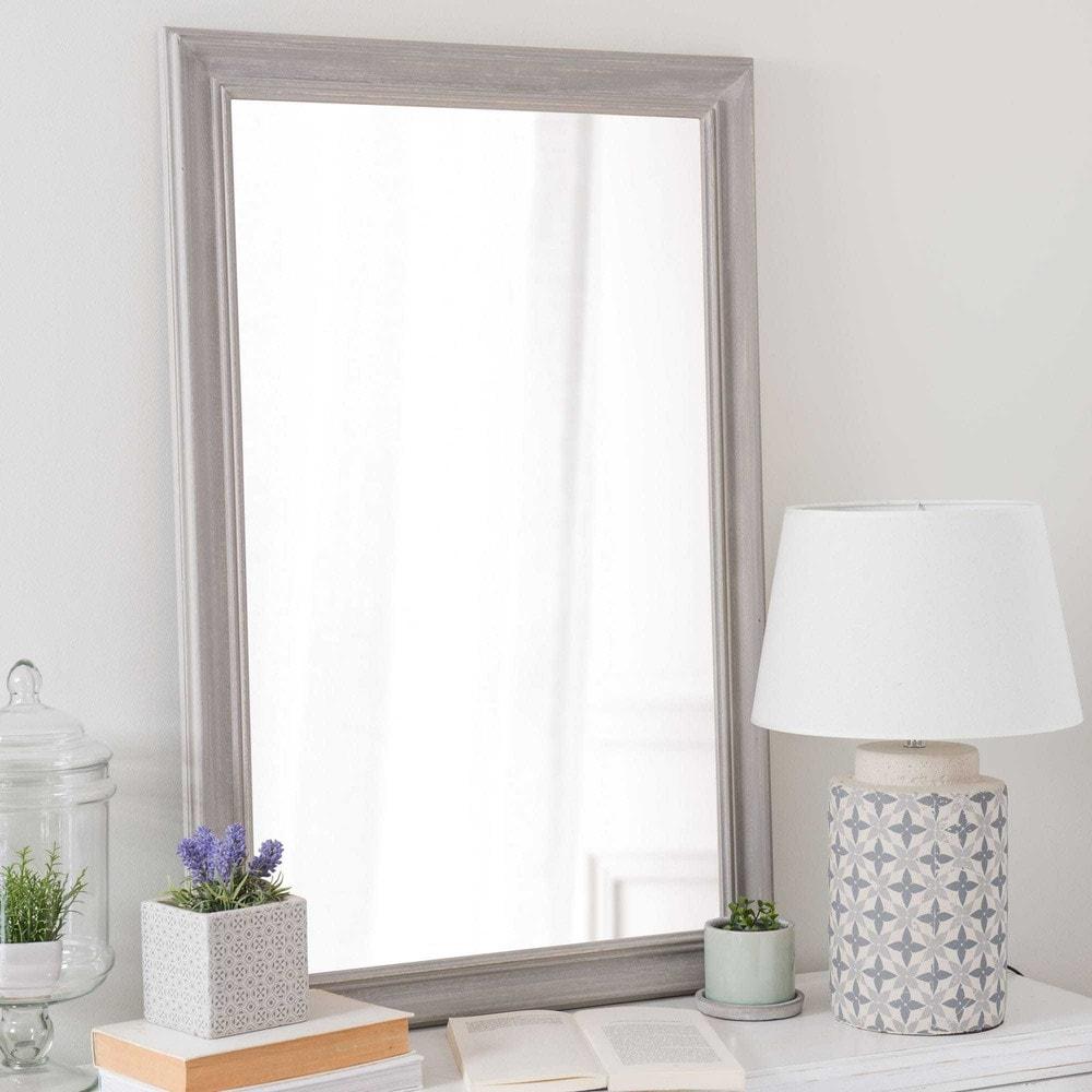 Miroir en bois de paulownia gris h 90 cm emeline maisons for Miroir bois gris