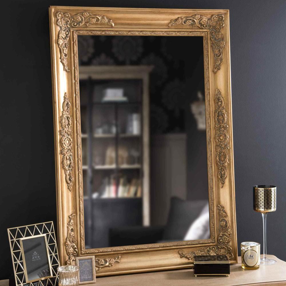 miroir en bois dor h 100 cm eastport maisons du monde. Black Bedroom Furniture Sets. Home Design Ideas