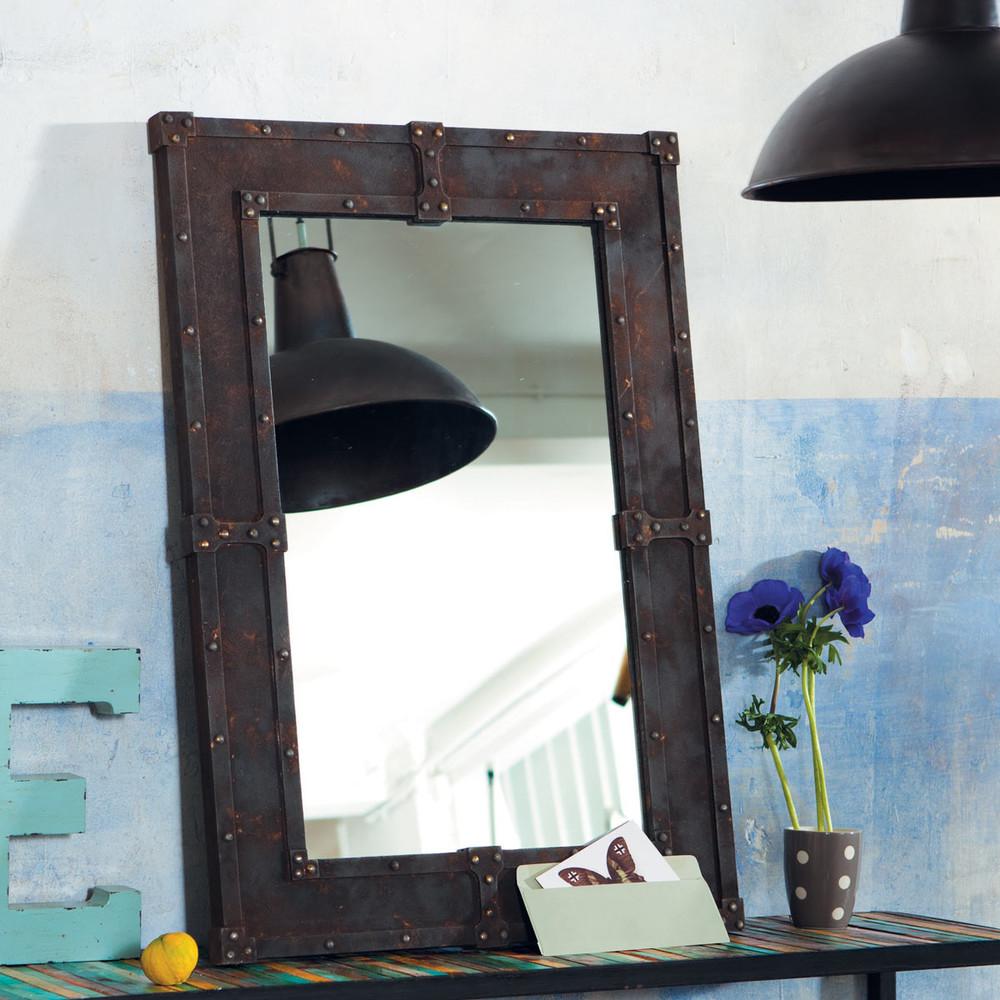 miroir en bois effet m tal h 90 cm expo maisons du monde. Black Bedroom Furniture Sets. Home Design Ideas