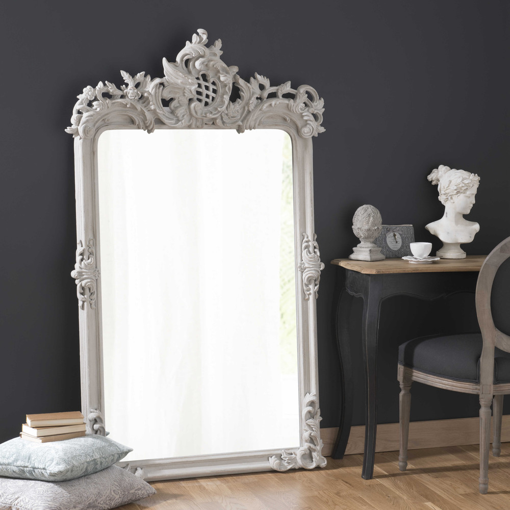 miroir en bois et r sine gris h 160 cm isaure maisons du monde. Black Bedroom Furniture Sets. Home Design Ideas