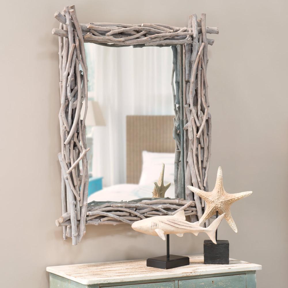 Miroir en bois flott h 113 cm fjord maisons du monde for Miroir en bois