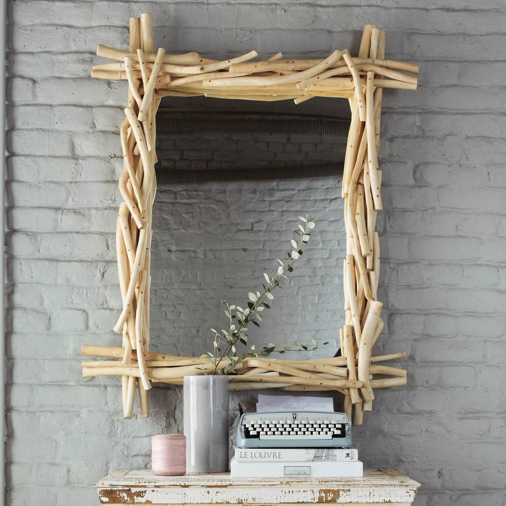 Miroir en bois flott h 113 cm rivage maisons du monde for Miroir en bois brut