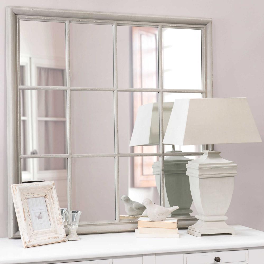 Miroir en bois gris h 120 cm camargue maisons du monde for Miroir bois gris